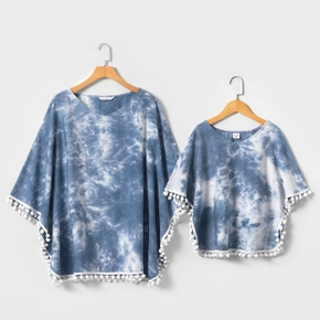 Tassel Ball Side Tie Dye Matching Navy Cover Up