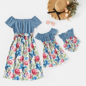 Mommy and Me Solid Stitching Floral Print Off-shoulder Dresses