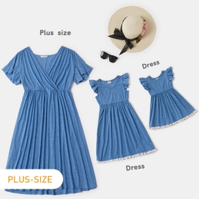 Solid Color Matching Blue Midi Dresses