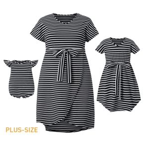 Striped Short-sleeve Matching Midi Dresses
