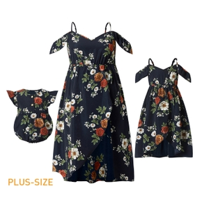 Floral Print Matching Navy Sling Dresses