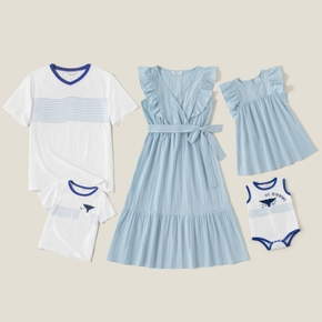 Mosaic 100% Cotton Family Matching Blue and White Sets