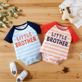 1pc Baby Boy & Girl Short-sleeve Stripe Letter Print Romper