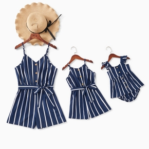 Navy and White Vertical Stripe Matching Sling Shorts Rompers