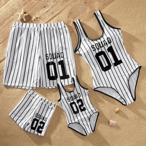 Number Print Stripe One-piece Family Matching Swimsuit