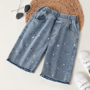 Trendy Kid Boy Splash Print Jeans Shorts