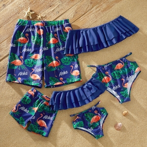 Family Look Solid Ruffle Top and Flamingo Leaf Print Shorts  Matching Swimsuits