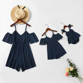 100% Cotton Solid Color Matching Navy Sling Shorts Rompers