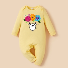 Care Bears Baby Boy/Girl Floral Face 100% Cotton Jumpsuit