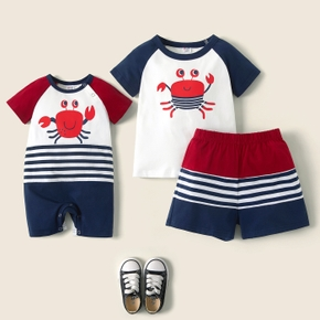 Mosaic Crab Print Stripe Sibling Sets