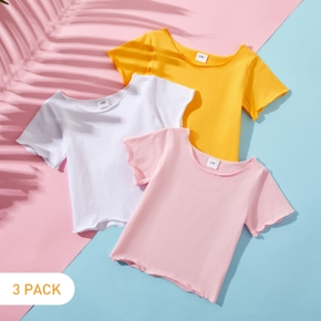 3pcs Girl Summer Spring Solid Cotton Short Sleeve Tops Tee