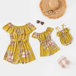 Floral Print Ruffled Off Shoulder Matching Shorts Rompers