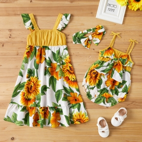 100% Cotton Sunflower Print Siblings Matching Sets