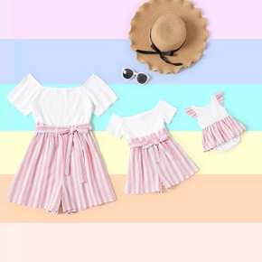 Stripe Print Short-sleeve Matching Shorts Rompers