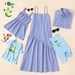 Mosaic Family Matching Striped Dinosaur Cotton Sets ( Tank Dresses - Tops - Rompers )