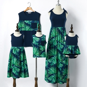 Mosaic Leaf Print Tank Top and Dress Family Matching Set