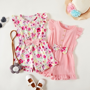Toddler Girl Floral Wide Trousers Jumpsuits