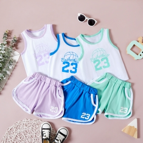 2pc Baby Unisex Sleeveless Solid Cotton Top Shorts Summer Sets