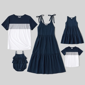 Mosaic 100% Cotton Solid and Color Block Family Matching Navy Sets