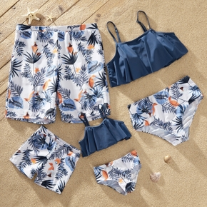 Floral Print Family Matching Swimsuits(2-piece Sling Swimsuits for Mom and Girl - Swim Trunks for Dad and Boy)