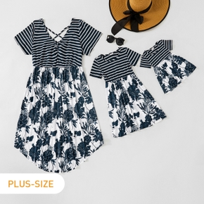 Stripe and Floral Print Short-sleeve Matching Midi Dresses