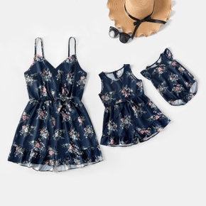Floral Print Sleeveless Matching Sling Shorts Rompers