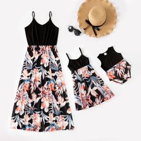 Floral Print Splice Black Sling Dresses for Mommy and Me