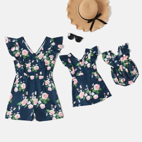 Floral Print Flutter-sleeve Matching Shorts Rompers