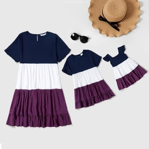 Color Block Print Short Sleeve Dresses for Mommy and Me