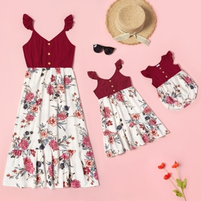 Floral Print Flutter-sleeve Matching Red Midi Sling Dresses