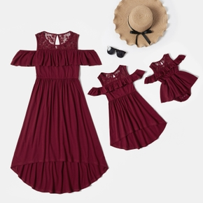 Mosaic Solid Off Shoulder Matching Red Midi Dresses