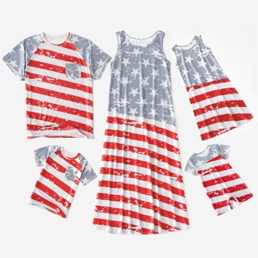 Independence Day Flag Print Family Matching Sets(Tank Dresses for Mom and Girl ; Short Sleeve T-shirts for Dad and Boy)