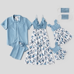 Family Look casual Floral Blue Matching suits