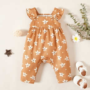 1pc Baby Girl Flutter-sleeve Floral Print Pants Overalls