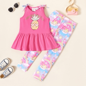 Care Bears Toddler Girl 2-piece Pineapple Bowknot Tank and Rainbow Leggings Set