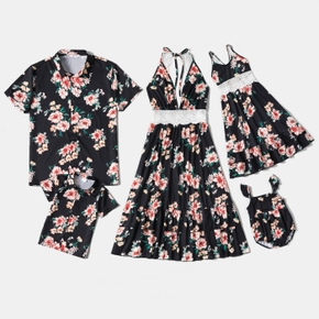 Floral Print Family Matching Sets(Lace Neck Strap Dresses for Mom ; Button Front Shirts for Dad and Boy ; Baby Rompers)