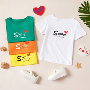 Pretty Kid Boy/Girl Short-sleeve Letter&Heart-shaped Print T-shirt
