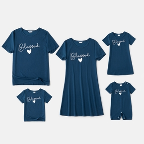 Blessed Letter Print Family Matching Sets(Short Sleeve T-shirts Dresses for Mom and Girl)