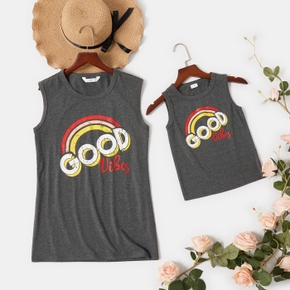 Rainbow Letter Print Grey Cotton Tank Tops for Mommy and Me