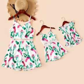 Cactus Pattern Matching White Sling Shorts Rompers