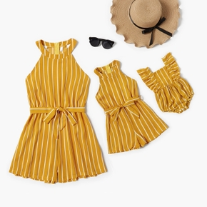 Stripe Print Sleeveless Matching Rompers for Mommy and Me
