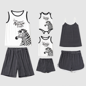 Family Zebra Striped Family Matching Pajamas Sets(Flame Resistant)
