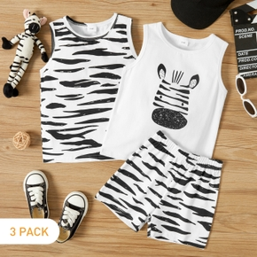 3-Pack Toddler Boy Zebra Print Camisole and Shorts Set
