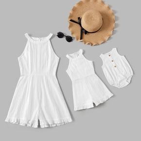 Solid Sleeveless Matching White Sling Shorts Rompers