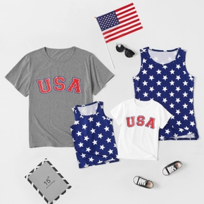 Independence Day Series Family Matching Tops(Star Tank Tops for Mom and Girl  - Letter Print Short Sleeve T-shirts for Dad and Boy)