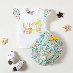 Care Bears Baby Girl 2-piece Summer Cotton Top and Palm Bloomer Set