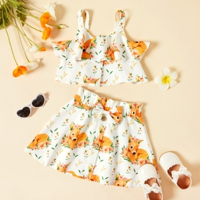 2-piece Toddler Girl Deer Floral Print Camisole and Skirt Set