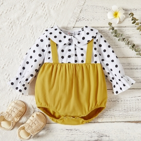 Baby Girl Polka dots Doll Collar Button Design Long Bell sleeves Strappy Splice Romper