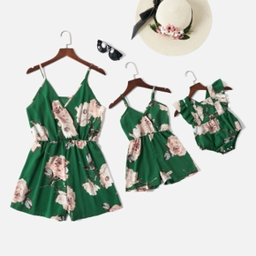 Floral Print Dark Green Sling Short Rompers for Mommy and Me