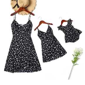 Little Daisy Print Sling Mini Dresses for Mommy and Me